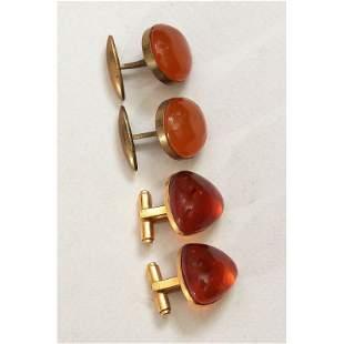 21g natural Baltic amber cufflinks gilding stamped USSR