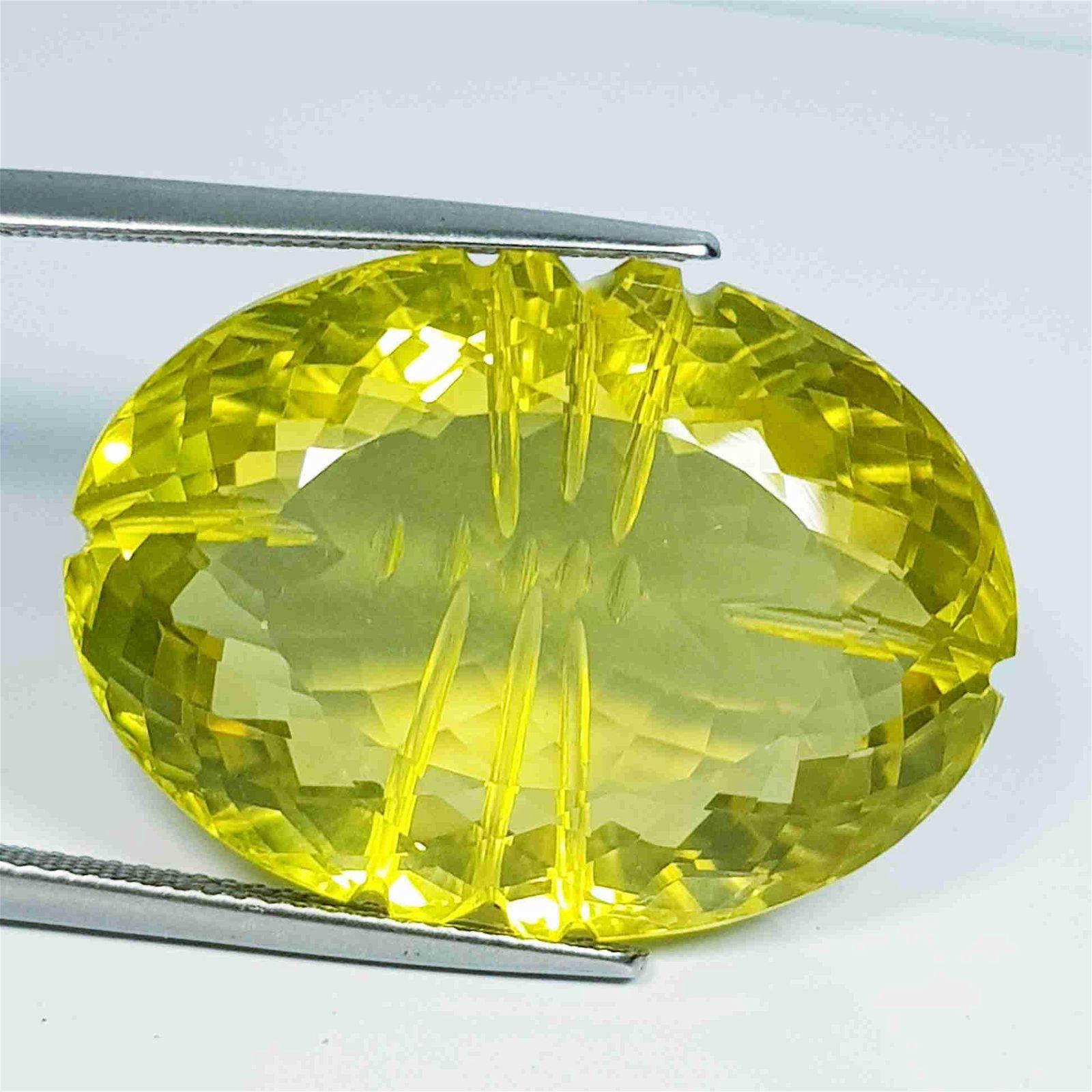 47.53 ct Natural Lemon Quartz Oval Flower Cut
