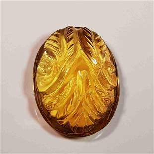 15.6 ct Natural Citrine Oval Flower Cabochon