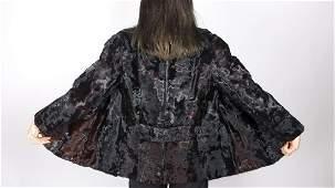 Brown Black Glossy Goat Fur Jacket