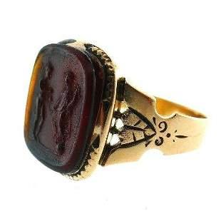ANTIQUE 10k Rose Gold & Carved Venetian Glass Signet