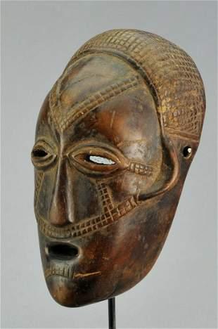 Congo Drc Rare Anthropomorphi; c Tabwa wooden Face Mask
