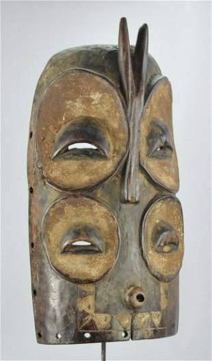 BEMBE Zoomorphic Owl Initiation Wood Mask Congo African