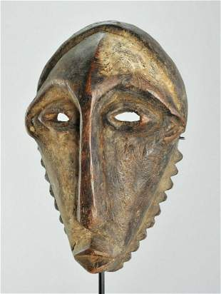 BEMBE rare powerful initiation wood mask Congo Drc