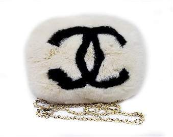 Rare Vintage Chanel Rabbit Lapin Fur Muff Bag Hand