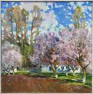 Oil painting Blooming garden Mynka Alexander Fedorovich