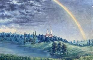 Oil painting Rainbow over the church Alexander