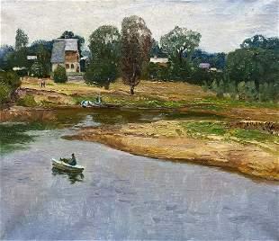 Oil painting River landscape Unknown artist