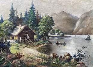 Oil painting House on the outskirts Unknown artist