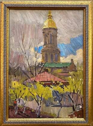 Oil painting Church landscape Belsky Mikhail