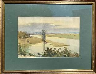 Watercolor painting River landscape Unknown artist