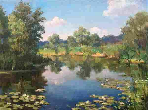 Oil painting River Pivtorak Sergey