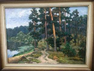 Oil painting Morning in a pine forest Pivtorak Sergey