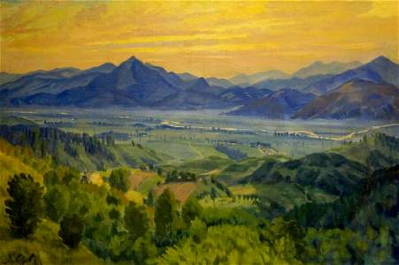 Oil painting Sunset landscape Manailo Fedor Fedorovich