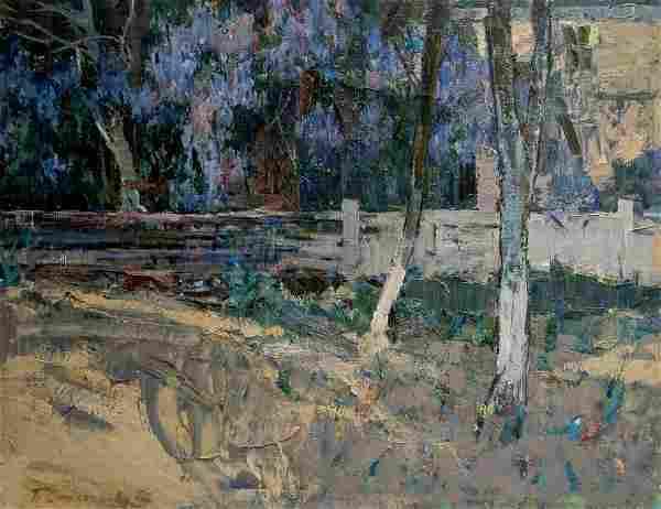 Oil painting Home yard Peter Kuzmich Stolyarenko