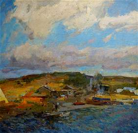 Oil painting Summer evening Zakharov Fedor Zakharovich