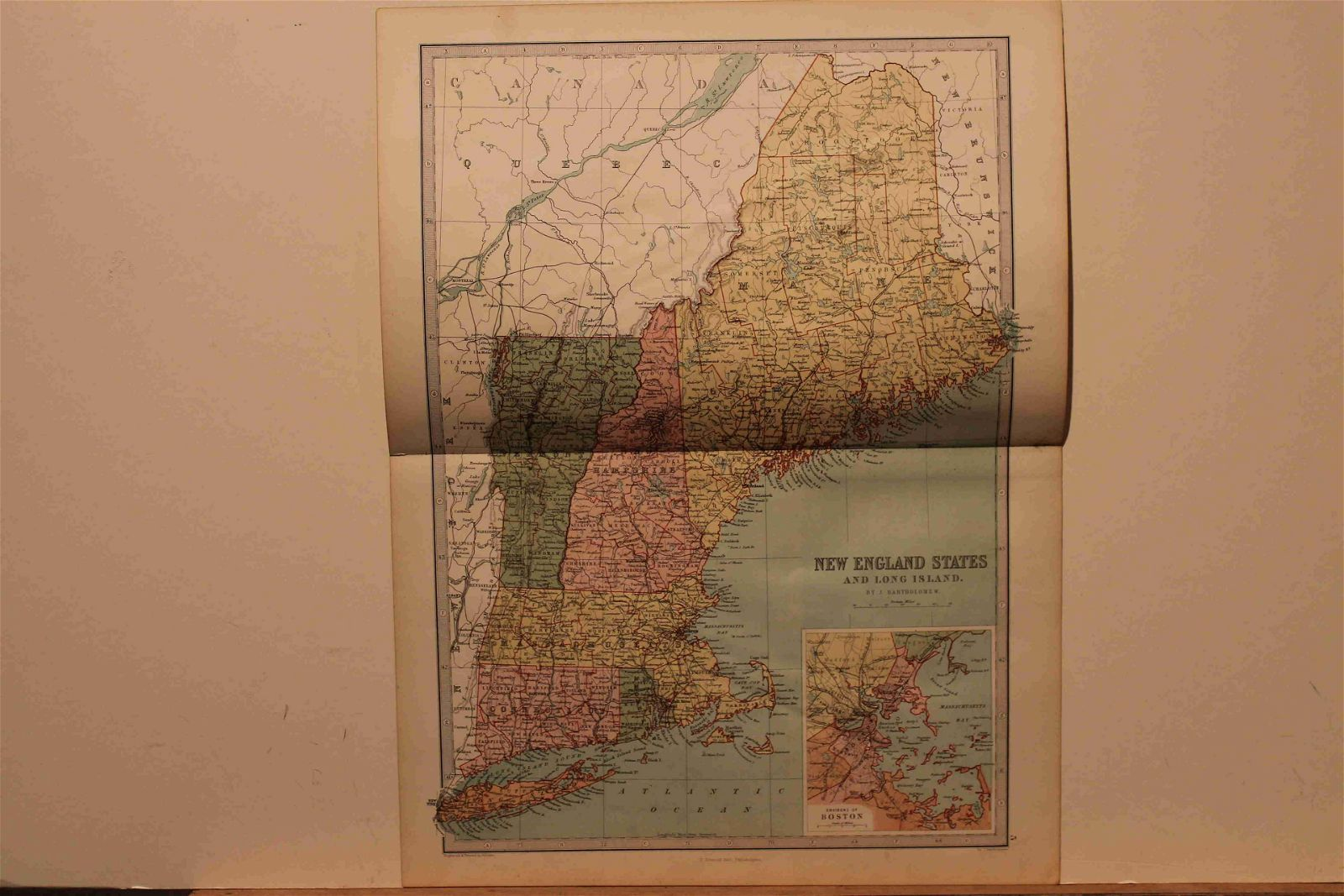 1873 Map of New England and Long Island