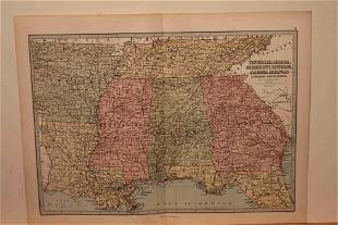 1873 Map of the US Southern States