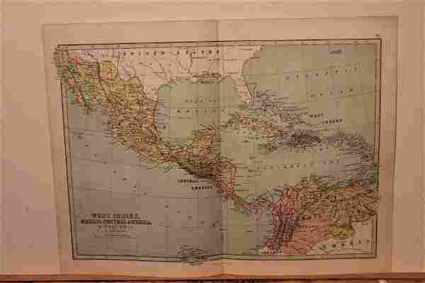 1873 Map of West Indies, Mexico and Central America