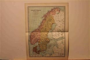 1873 Map of Sweden, Norway and Denmark