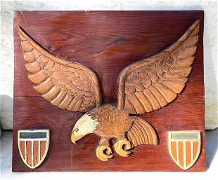 C1940 Carved Eagle Plaque With Shields