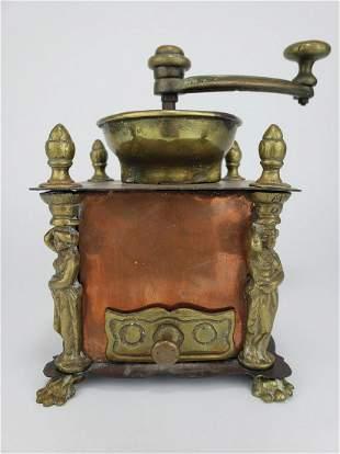 Brass & Copper Coffee Grinder w/ Figural Columns