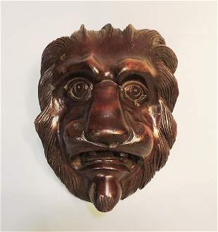 18 c. Early Carved Lion Head Mask