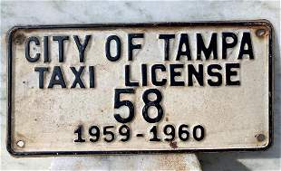 Tampa Taxi License Plate
