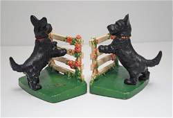 Scottie Dog by Fence Cast Iron Hubley Bookends