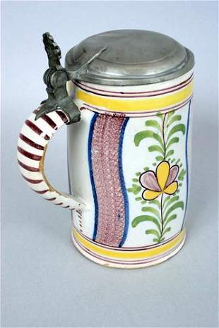A good late 18th century German faience pewter lidded
