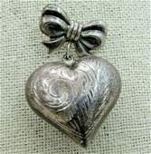 Vintage Sterling Bow and Dangle Heart Brooch C-Clasp