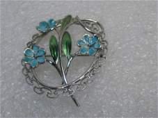 Vintage Sterling Enameled Floral Brooch, signed Beau,
