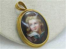 Victorian 18kt Young Male Portrait Brooch/Pendant,