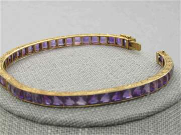 "Antique 18kt Amethyst Hinged Bracelet, 6.75"",  Appz."
