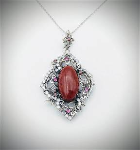 925 SS Necklace & Jasper Pendant w Red Garnet, Amethyst