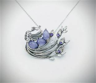 925 SS Necklace & Peacock Pendant w Violet Jade,