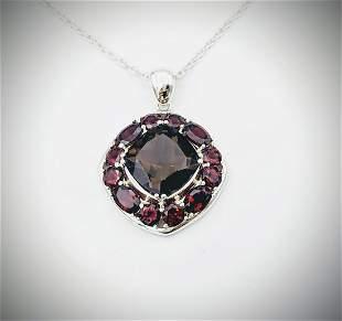 925 SS Necklace & Pendant w Smoky Quartz & Red Garnet