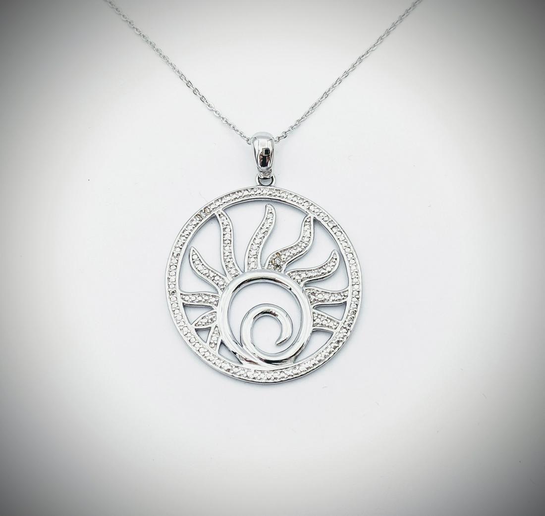 925 SS Necklace & Sun Symbol Pendant w Diamonds