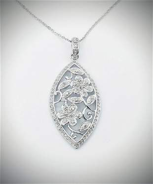 925 SS Necklace w Flower Designed Diamond Pendant