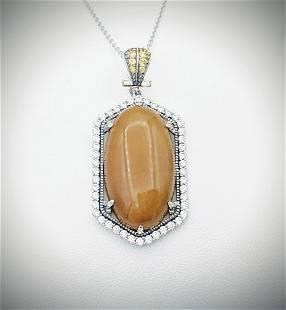 925 SS Necklace w Yellow Jadeite, Citrine & CZ Pendant