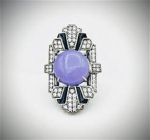 925 SS Sz 7 Cocktail Ring w Violet Jade, CZs & Black