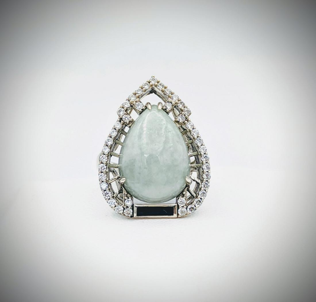 925 SS Sz 7 Jade, Cubic Zirconia & Black Enamaling Ring