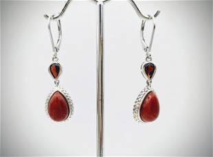 925 SS Vintage Jasper & Almandine Garnet Earrings