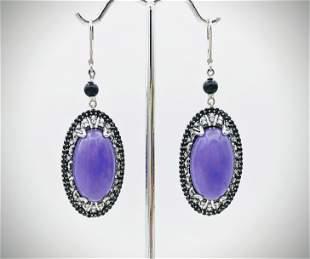 925 SS Violet Jade Earrings w Black Diamonds & CZs
