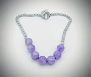 Beaded Jade & Violet Jade Necklace w Sterling Silver CZ