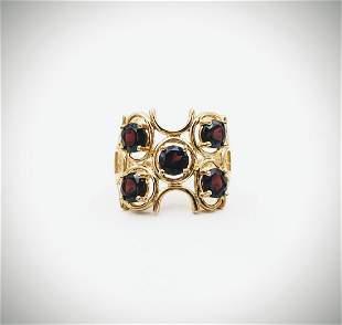 Gold Plated Sz 7 Garnet Ring