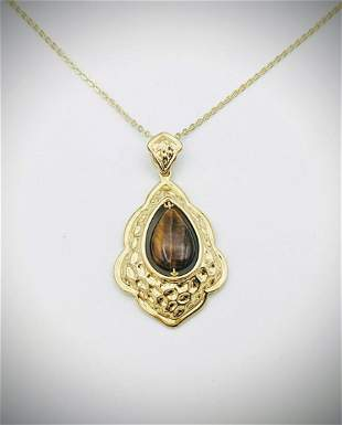 Gold Plated Vintage Style Pendant w Tigers Eye