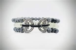 Gray Jadeite & Jade Beaded Bracelet w CZs & Black