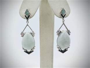 Jade Cocktail Earrings w Raw Emerald, CZs & Black