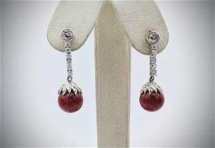 Jasper Cocktail Earrings w Cubic Zirconia